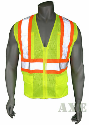 High Visibility Vest, Mesh, Class 2 Safety Vest with 6 Pockets, Ironwear Lime