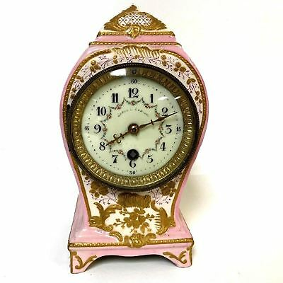 Antique French Porcelain Clock w/ Sevre Type Mark Hand Painted