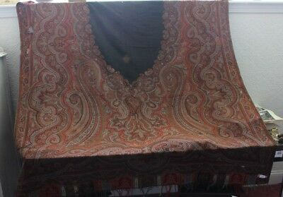 "Antique Wool Partial Paisley Cutter Victorian Shawl Fabric c1860~58""L X 60""W"