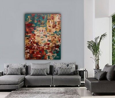Original modern Large palette knife abstract painting wall art unframed deco GT