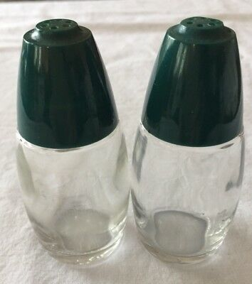 Vintage Gemco Salt & Pepper Shakers Glass with Green Top USA Retro