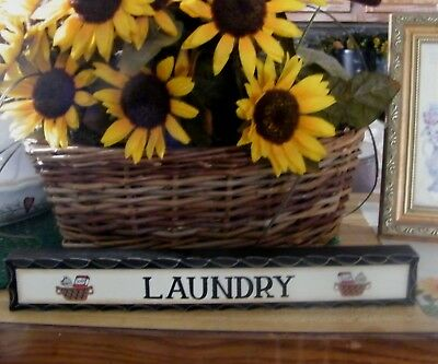 LAUNDRY room message block wood shelf sitter rustic decor country primitive sign