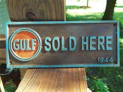 Cast Iron Heavy Gulf Sold Here 1944 Sign Plaque! Station Sign! Embossed Letters