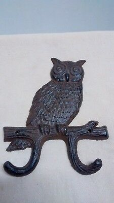 Cast Iron Hoot Owl towel hanger coat hooks hat hook key rack home garden decor
