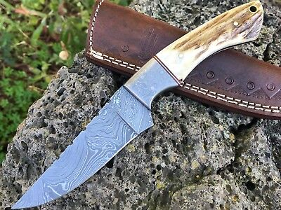 "HUNTEX Handmade Damascus 9"" Long Deer Antler Full Tang Hunting Skinning Knife"