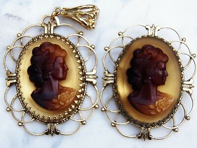 Set Faux Tortoise Shell Glass CAMEO PIN and PENDANT Gold-tone Prong-set