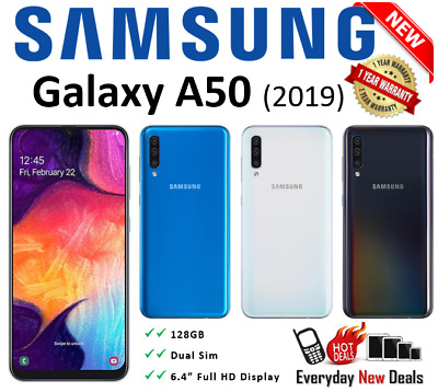 New Samsung Galaxy A50 DUAL SIM SM-A505F/DS 128GB  Simfree-Unlocked Smartphone