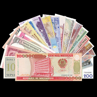 Lot 20 PCS paper Notes From 20 Different Countries, Vietnam, Mozambique, UNC