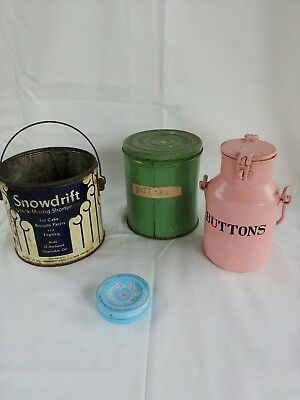 Vintage SNOWDRIFT Shortening Tin Can NO LID & button cans with vintage buttons