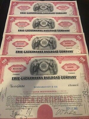 Lot of 4 Erie Lackawanna Railroad Company Stock Certificate Red