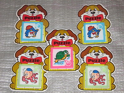 5 Vintage Plastic Slide Puzzles Penguin Octopus Turtle Made in Hong Kong NEW