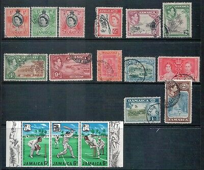 JAMAICA - Mixed Lot of 13 Stamps + 1968 MCC Tour Cricket Strip - GU to MUH