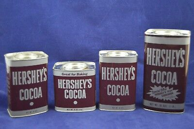 Vintage Lot 4 Hershey's Cocoa Powder Tins 16 8 Ounces Cookbook Multiple Shapes