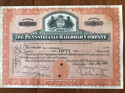 Pennsylvania Railroad Company Stock Certificate Orange Horses