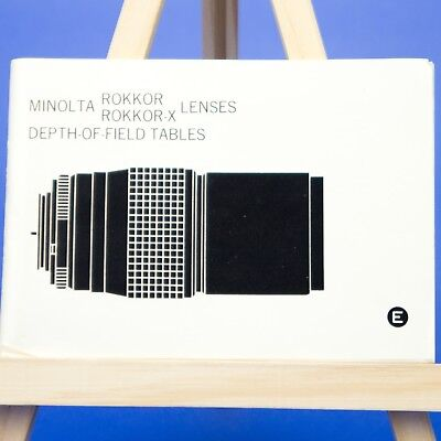 Genuine Minolta Rokkor & Rokkor-X Lenses Depth of Field Tables Booklet