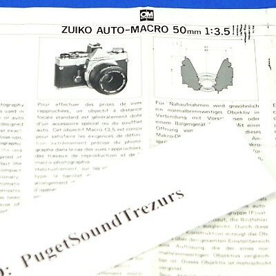 Genuine Owners Pamphlet for Zuiko Auto-Macro 50mm 1:3.5 for Olympus OM System