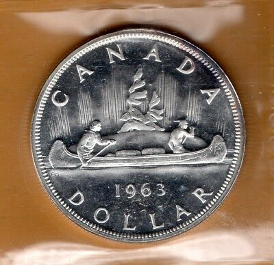 ICCS PL66 PL-66 1963 Canada $1 Dollar Beautiful White CAMEO Proof Like Silver