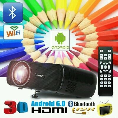 7000 Lumens Android 6.0 Wifi Bluetooth LED Projector Home Theater Cinema 1080P