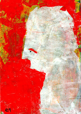 even if your life is now a cage e9Art ACEO Abstract Palette Knife Portrait Art