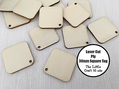 5 x 30mm Wooden Square Tag Laser Cut Shape Ply Blank Craft Squares Wood Shapes