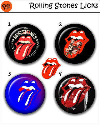 """Collection 4 Pin/Button/Badge 'Rolling Stones Licks' Ø32mm/1,25"""""""