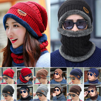 Women Men Winter Crochet Knit Baggy Beanie Wool Skull Hats Ski Caps Scarf Unisex
