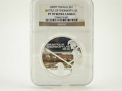 PERTH 2009 $1 Famous Battles NGC PROOF 70 UC BATTLE OF THERMOPYLAE 1 Oz SILVER