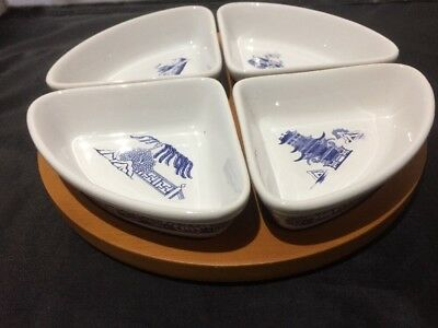 Willow Pattern Set 4 Quarter Dishes Wooden Tray Boxed Ringtons