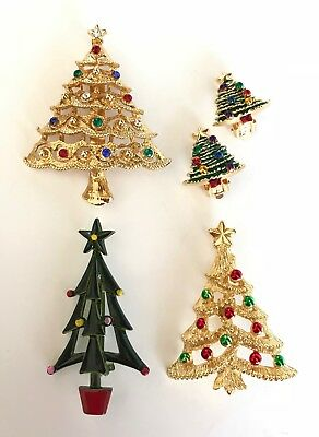 Vintage Mixed Lot of 4 Christmas Tree Enamel Gold Tone Brooches Pins Earrings