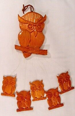 Carved Wood Wind Chime WISE OWLS