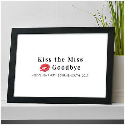 Personalised Hen Party Accessories Bride To Be Kiss The Miss Goodbye Print Gifts