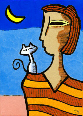 a cat will always love you even when you cant love yourself e9Art ACEO Lady Pop