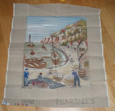 """HARBOUR PEARSALL'S VINTAGE PRINTED TAPESTRY CANVAS 956 part completed 15""""x19"""""""
