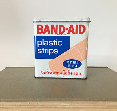 Vintage Band-Aid Hinged Metal Tin Box, Plastic Strips, Johnson and Johnson USA