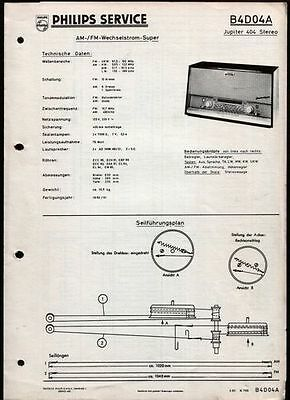 Röhren Radio Stereo Philips Jupiter 404 Stereo / B4D04A Service Manual 3/1960