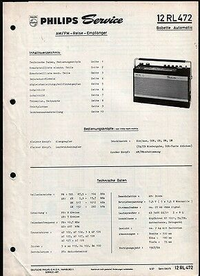 Koffer Radio Philips Babette Automatic 12 RL 472  Service Manual   6 / 1967