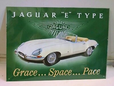 JAGUAR E Type w LOGO Vintage metal steel Sign nice big sign!