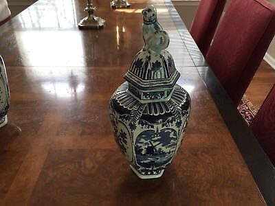Boch Delft Blue & White Ginger Jars with Foo Dog Lid Made in Holland #1