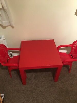 Ikea Red Side Table With Two Little Chairs