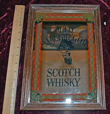 Auld MacGregor Scotch Whisky Framed Bar Mirror Man Cave Decor Advertising Sign