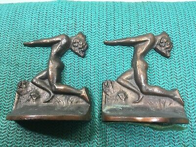 RARE PAIR of VINTAGE ART DECO  CAST IRON BRONZED NAKED LAIDES BOOK ENDS