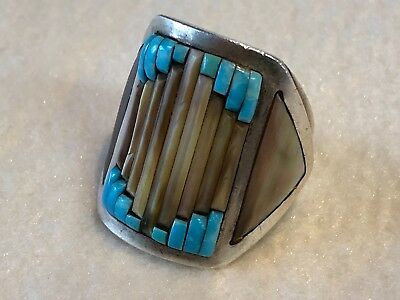 Vinntage Zuni Turquoise Sterling Silver Ring Size 10 1/2