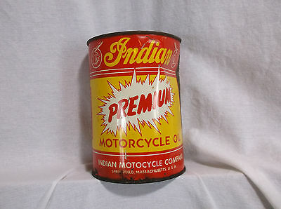 Vintage Indian Motorcycle Company 1 Quart Metal Oil Can NOS Never Opened Full