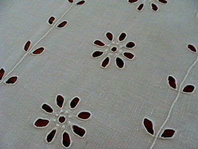 FAB Antique Early Whitework Linen Tablecloth 87x110 Hand Embroidered BANQUET