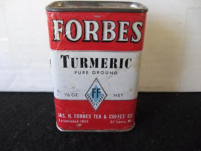 Vintage Forbes Turmeric Spice Tin -cardboard body tin top/bottom unique top