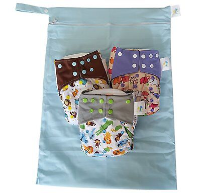 Bambungle Multi Pack | 3 Reusable Bamboo Cloth Diapers & EXTRA LARGE Wetbag