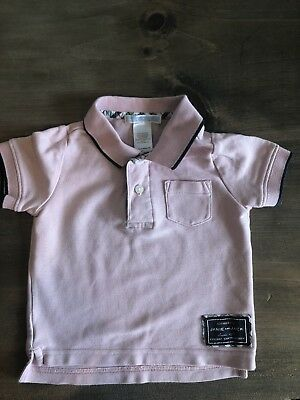 Janie And Jack Baby Boys Pink Cotton Polo Shirt, Size 3-6