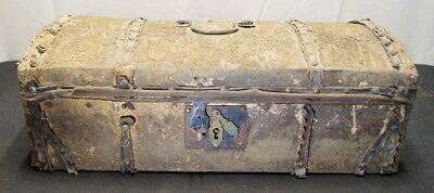 Antique Vtg 1800's Domed Wood Lock Jewelry Trinket Trunk W/ Animal Hide Cover
