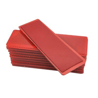 10 pcs Car Red Plastic Rectangular Stick-On Reflective Rectangle Reflector Red