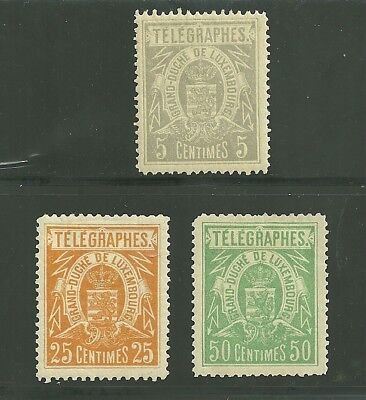 Luxembourg Telegraphs 1883, Hiscock #1-3, mh(rem)  11 x 11 1/2